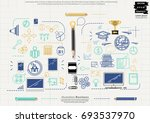 pencil sketch     icon business ... | Shutterstock .eps vector #693537970
