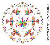vector folk mexican otomi style ... | Shutterstock .eps vector #693540880