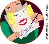 celebrity sign. sign day. pop... | Shutterstock .eps vector #693545500