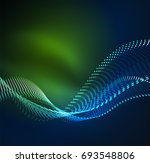 wave particles background   3d ... | Shutterstock . vector #693548806