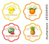 labels with hand drawn fruits... | Shutterstock .eps vector #693549493