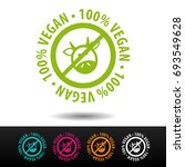 100  vegan badge  logo  icon.... | Shutterstock .eps vector #693549628