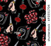 seamless pattern with knife ... | Shutterstock .eps vector #693551704