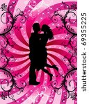 Vector Illustration of couple kissing on Valentine Background with hearts and scrolls. - stock vector