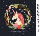 hello fall  autumn unicorn on ... | Shutterstock .eps vector #693552730