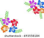 color hawaii hibiscus background | Shutterstock .eps vector #693558184