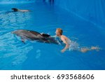 bottlenose dolphin and human.... | Shutterstock . vector #693568606