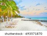 luxurious beach lounge at isla... | Shutterstock . vector #693571870