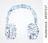 music doodles in headphones... | Shutterstock .eps vector #69357217