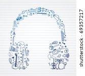 music doodles in headphones... | Shutterstock .eps vector #69357217