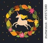 hello fall  autumn unicorn on ... | Shutterstock .eps vector #693572380