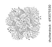 monochrome hand drawn doodle... | Shutterstock .eps vector #693575530