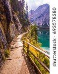 magnificent alpine lake lago di ... | Shutterstock . vector #693578380