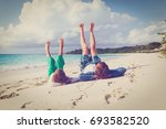father and son having fun on... | Shutterstock . vector #693582520