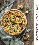 homemade pie with mushrooms   Shutterstock . vector #693582634