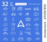 32 useful simple transport icons | Shutterstock .eps vector #693587890