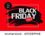 black friday sale banner on red ... | Shutterstock .eps vector #693589948