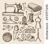 vintage sewing symbols set.... | Shutterstock .eps vector #693597640