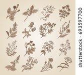 vector illustration in vintage... | Shutterstock .eps vector #693597700