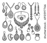 golden and silver jewelry....   Shutterstock .eps vector #693597766