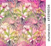 seamless tropical pattern with... | Shutterstock . vector #693598534