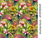 neon tropical pattern  seamless ... | Shutterstock . vector #693598549