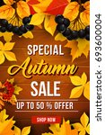 autumn sale 50 percent off... | Shutterstock .eps vector #693600004