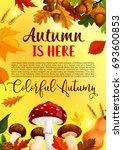 autumn is here poster of forest ... | Shutterstock .eps vector #693600853