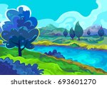 landscape  vector illustration | Shutterstock .eps vector #693601270