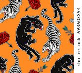 seamless pattern with wild cats ... | Shutterstock .eps vector #693603394