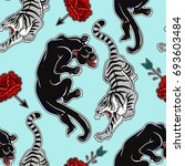 seamless pattern with wild cats ... | Shutterstock .eps vector #693603484