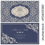 wedding invitation cards ... | Shutterstock .eps vector #693605380