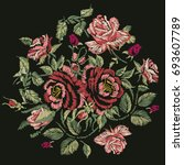 embroidery design. red pink... | Shutterstock . vector #693607789