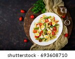 salad   penne pasta with...   Shutterstock . vector #693608710