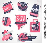 creative set of 8 colorful sale ... | Shutterstock .eps vector #693609976