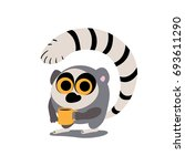 funny round lemur with a drink... | Shutterstock .eps vector #693611290