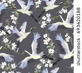 crane  pattern  vector ... | Shutterstock .eps vector #693620188