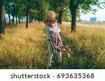 a happy couple in love is...   Shutterstock . vector #693635368