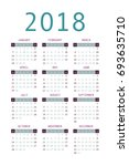 calendar 2018 year simple style.... | Shutterstock .eps vector #693635710