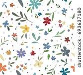 vector hand drawing flowers...   Shutterstock .eps vector #693637180