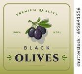 colorful black olives packaging.... | Shutterstock .eps vector #693641356