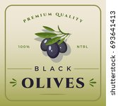 colorful black olives packaging.... | Shutterstock .eps vector #693641413