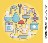 plumbing service design | Shutterstock .eps vector #693642754