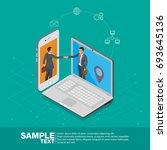 isometric deal on mobile phone... | Shutterstock .eps vector #693645136