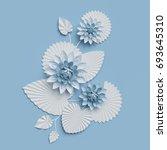 3d render  paper lotus flowers  ...   Shutterstock . vector #693645310
