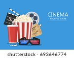 movie poster template. popcorn  ... | Shutterstock .eps vector #693646774