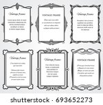 vintage victorian border frames ... | Shutterstock . vector #693652273