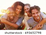 two smiling couples... | Shutterstock . vector #693652798