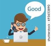 businessman in suit working... | Shutterstock .eps vector #693653890