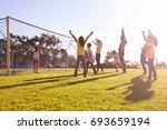 families cheering scoring a... | Shutterstock . vector #693659194